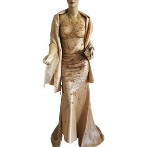 Putros Champagne Evening Long Formal Dress